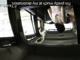 Tattooed Brit assfucked to creampie in fake taxi